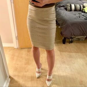Calvin Klein laser cut leather pencil skirt
